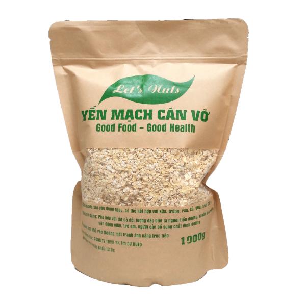 Hạt yến mạch cán vỡ Lets Nuts làm ngũ cốc giảm cân, bột yến mạch, người tập gym, bổ sung chất dinh dưỡng túi 1000g Let Nuts