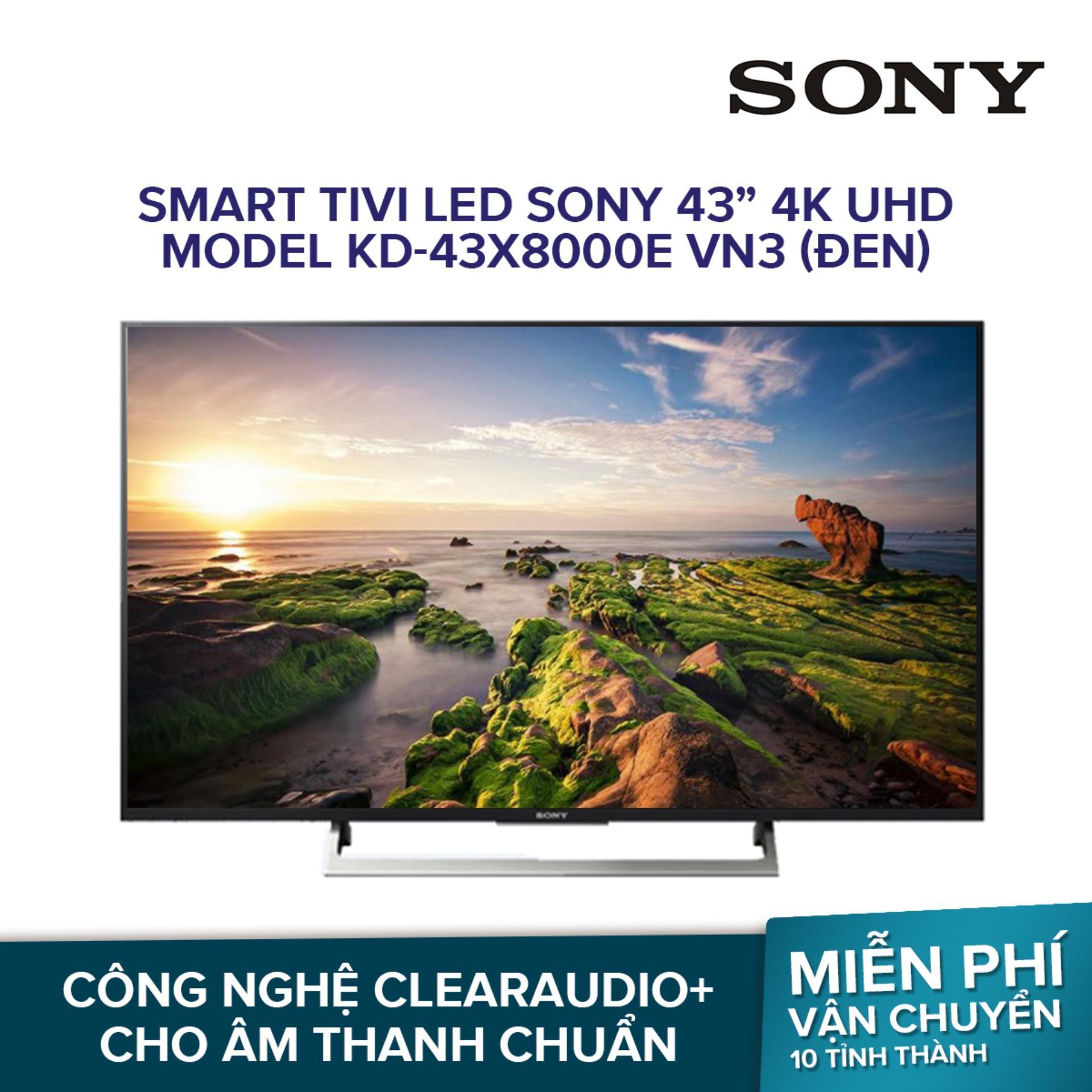 Smart Tivi LED Sony 43inch 4K UHD - Model KD-43X8000E VN3 (Đen)