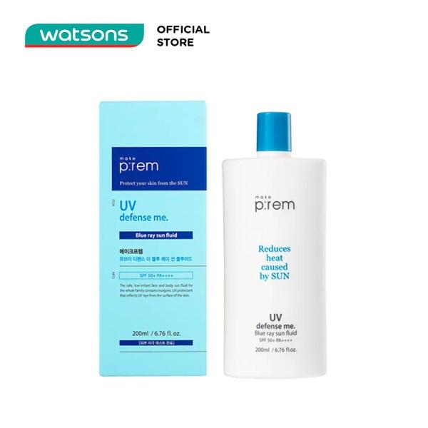 Kem Chống Nắng Vật Lý Make P:rem UV Defense Me. Blue Ray Sun Fluid SPF 50+ PA++++ Dạng Sữa 200ml