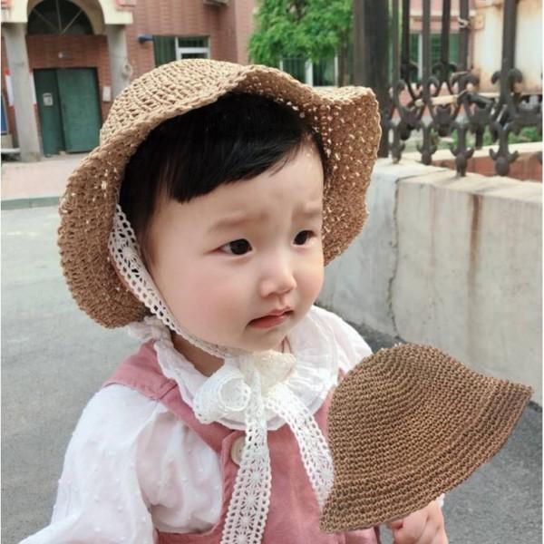 Giá bán Mũ cói buộc dây ren Hàn Quốc cực xinh cho bé yêu