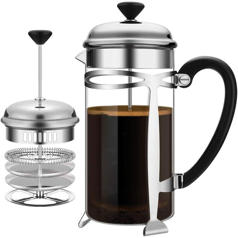 Soulhand French Press Coffee Maker Heat Resistant Glass Tea Maker Easy to Clean for Home, Office, Camping