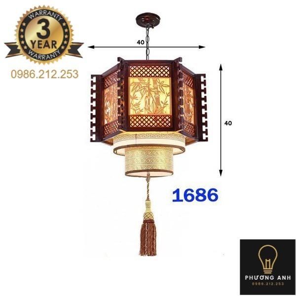 Bảng giá Đèn lồng gỗ thả bàn ăn, trang trí phòng bếp, phòng khách sang trọng cổ điển mã 1686- Đèn Phương Anh
