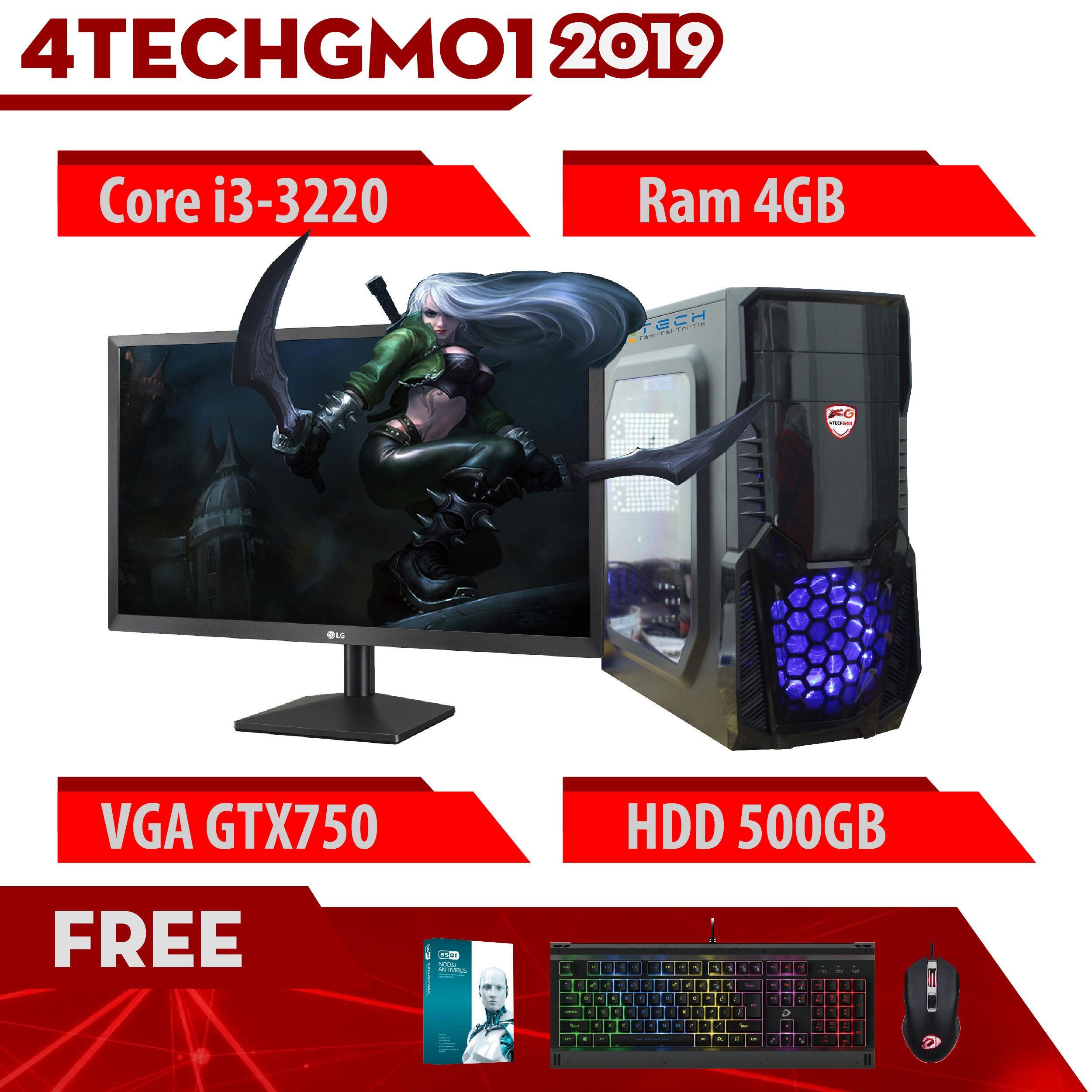 Máy Tính Chơi Game 4TechGM01 2019 Core i3-3220, Ram 4GB, HDD 500GB, VGA GTX750, Màn Hình LG 24 inch - Tặng Bộ Phím Chuột Gaming DareU.