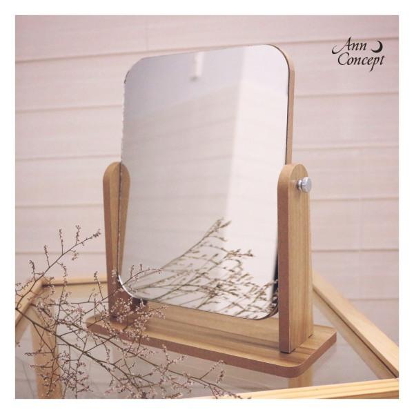 [HCM]Gương soi để bàn có chân đế điều chỉnh độ nghiêng màu gỗ trầm giá rẻ