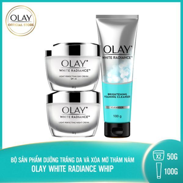 Bộ 3 sản phẩm dưỡng trắng da và mờ thâm nám Olay White Radiance: 1 Kem dưỡng ban ngày 50g + 1 Kem dưỡng ban đêm 50g + 1 Sữa rửa mặt 100g giá rẻ