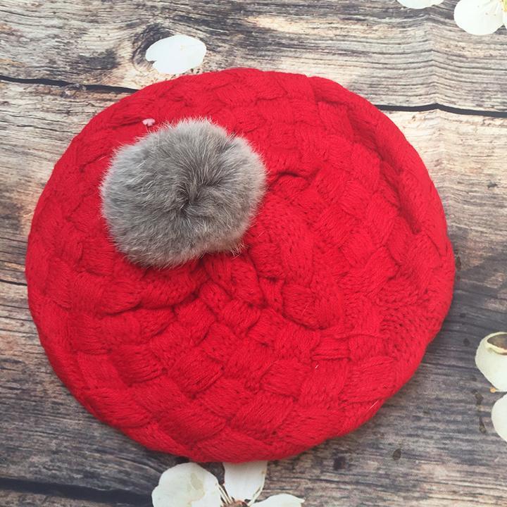 Mũ len trẻ em hình mũ lồi 1 quả bông