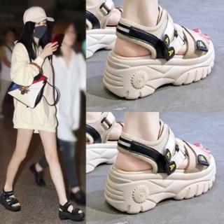Dép sandal đế bánh mì chữ A cực chất 2 màu đen, kem thumbnail