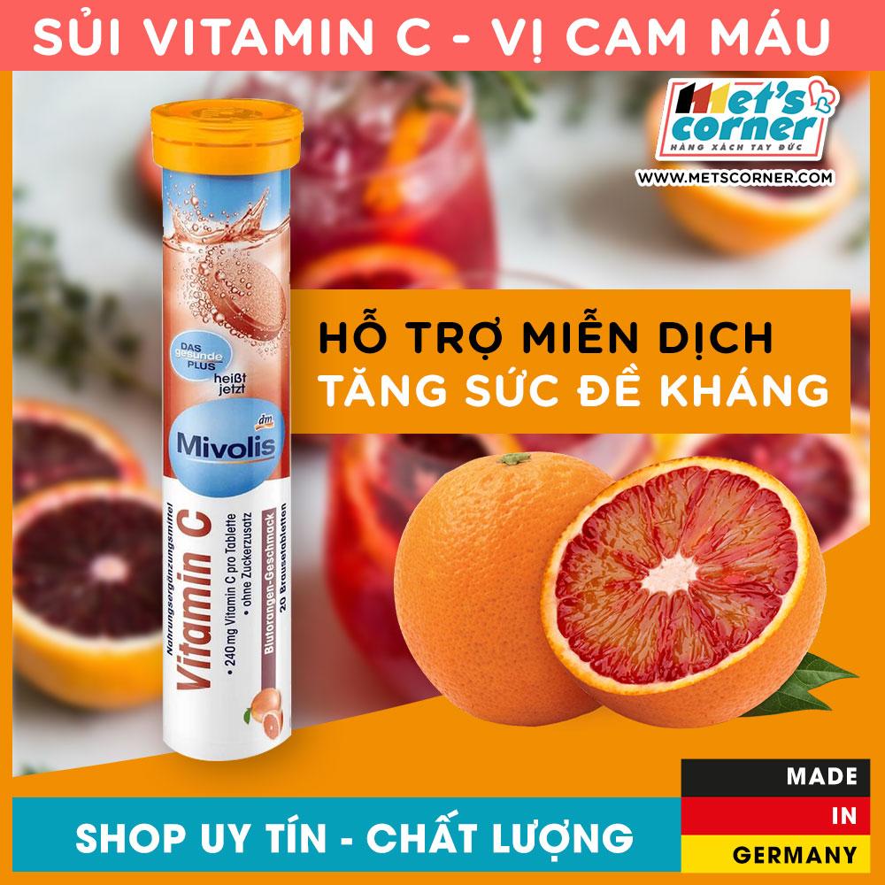 Ưu Đãi Khuyến Mại Khi Mua [Hàng Đức] Viên Sủi Đức - Mivolis Vitamin C, 20 Viên - Tăng Sức đề Kháng, Hỗ Trợ Miễn Dịch