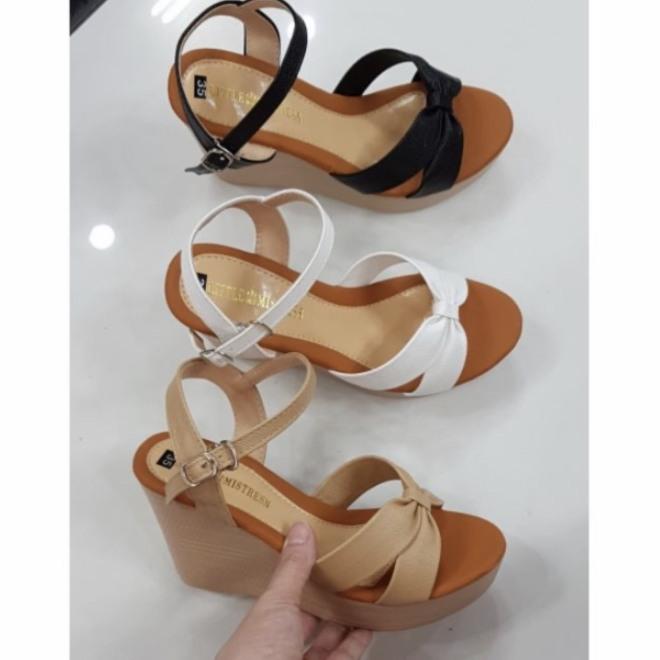 Giày đế xuồng 9cm quai thắt nơ đơn giản giá rẻ