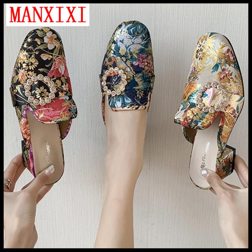 Giày Cao Gót Thương Hiệu MANXIXI Phiên Bản Hàn Quốc Dép Lê 1.57 Inch Giày Sục Thời Trang Xăng Đan Nữ Họa Tiết Hoa Đẹp (Cỡ 35-39) giá rẻ