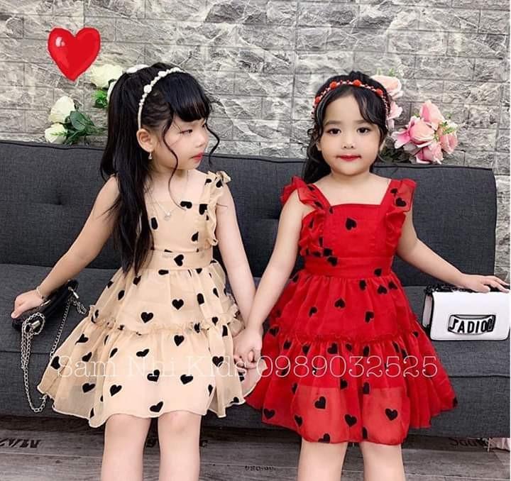 Váy xòe 2 dây họa tiết trái tim cho bé gái cực xinh Nhật Bản