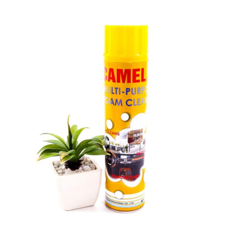 Chai xịt bọt vệ sinh ghế da nội thất ô tô thương hiệu Foam Cleaner Camel an toàn tiện lợi.