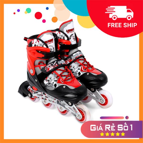 Mua Giày Patin inline Long Feng 906 - CHÍNH HÃNG - giày trượt patin người lớn , trẻ em đủ size S M L màu Đỏ