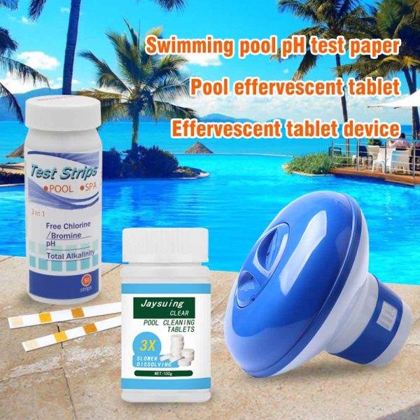 Bể Bơi Bộ Dụng Cụ Vệ Sinh Viên + Nổi Clo Bồn Tắm Nước Nóng Bình + Tặng 50 Que Thử