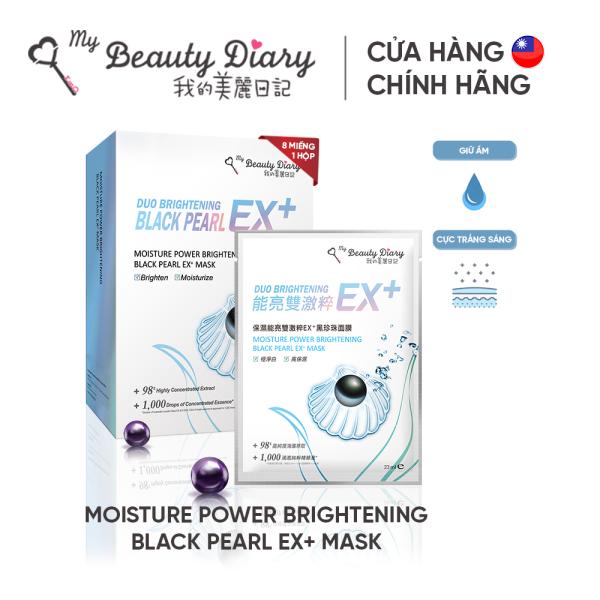 Hộp 6 miếng mặt nạ dưỡng ẩm trắng da My Beauty Diary Moisture Power Brightening Black Pearl EX+ Mask 23ml/miếng.