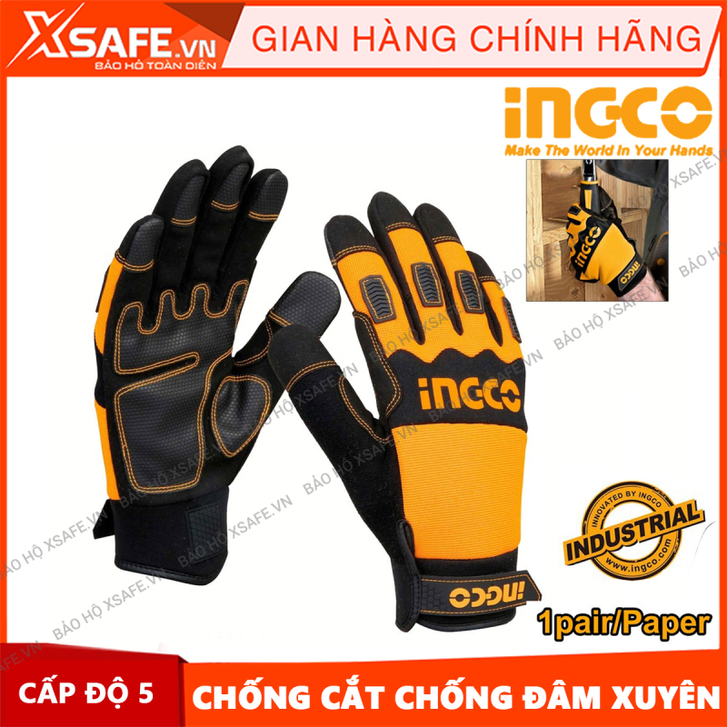 Găng tay bảo hộ đa năng INGCO HGMG02 găng tay cơ khí, bao tay bảo hộ lao động chống trơn trượt mài mòn thấm hút mồ hôi cách nhiệt [XSAFE] [XTOOL]