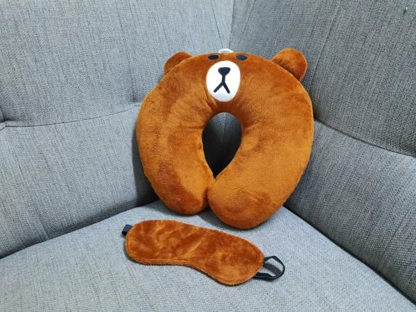 Combo gối kê cổ chữ u gấu nâu brown kèm bịt mắt