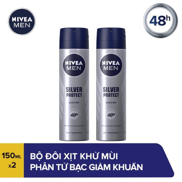 Bộ đôi Xịt Ngăn Mùi Ngăn Khuẩn Gây Mùi Vượt Trội Dành Cho Nam Nivea Men Silver Protect 82959 (150ml x2)