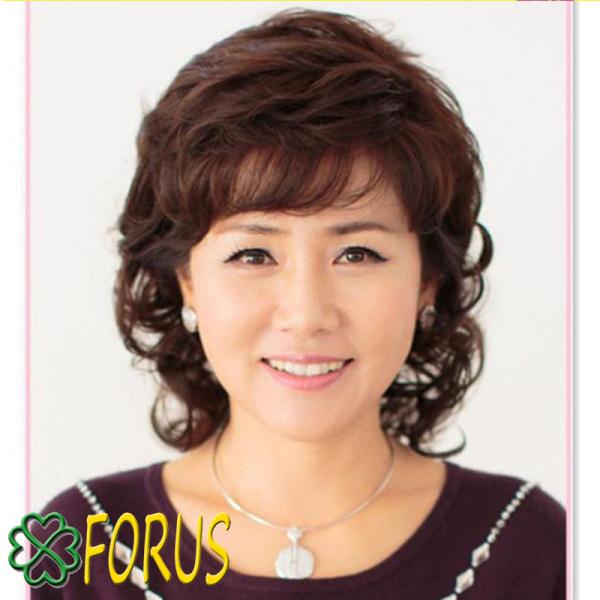 Tóc giả trung niên nữ, tóc trung niên xoăn ngắn 9026 [tặng kèm quà 50k] giá rẻ