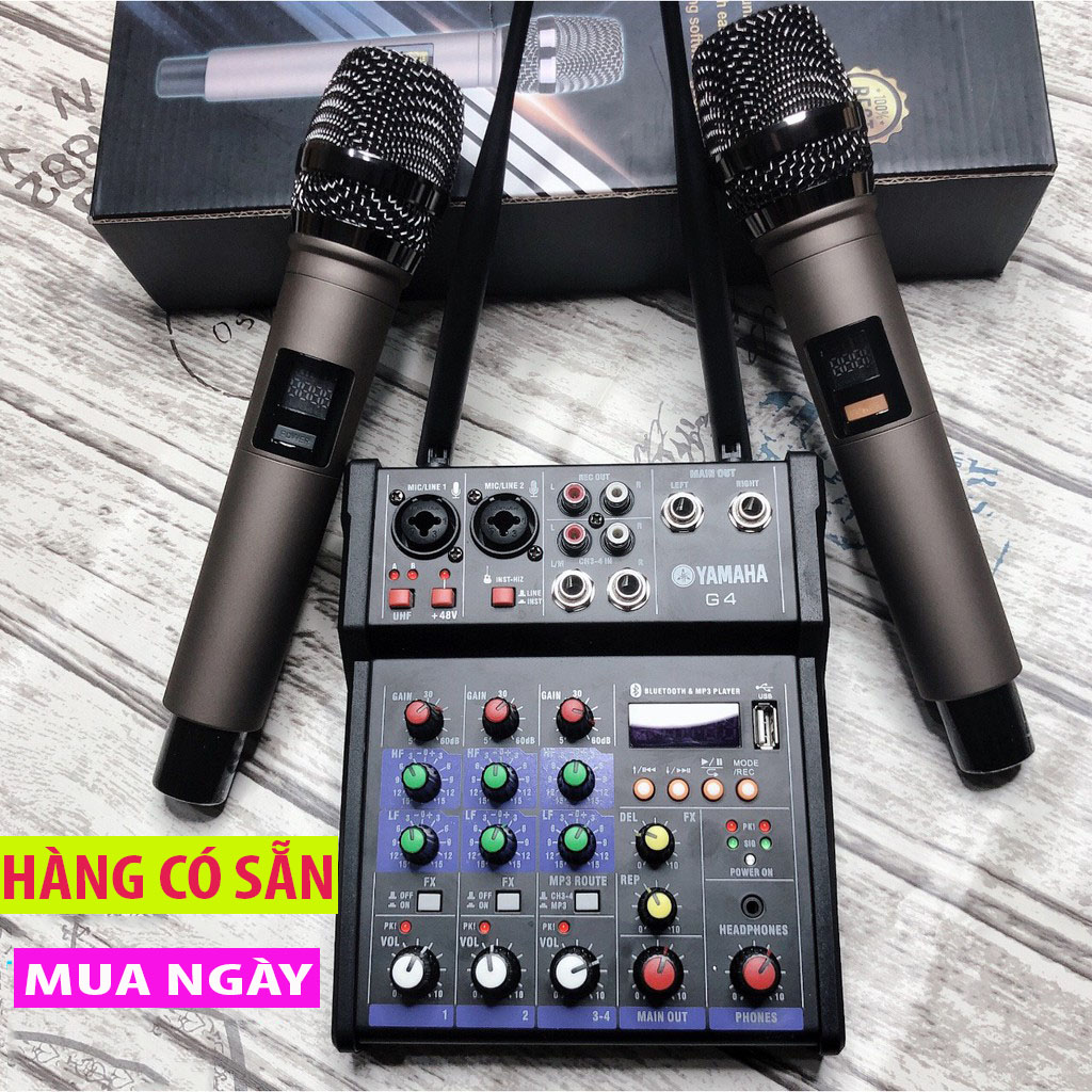 ComBo Trọn Bộ Âm Thanh Kiêm Lọc Âm Mixer Yamaha G4 Kèm 2 Mic- Tích Hợp Chỉnh Vang ,Echo Karaoke Xe Hơi Hỗ Trợ Màn Hình LED Có Bluetooth- Âmly Dàn Hát Karaoke Gia Đình Âm Thanh Sống Động- Kết nối USB 2.0, Bluetooth- Bh 12 Tháng Toàn Quốc
