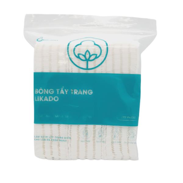 Bông tẩy trang Likado 3 lớp 2 mặt chất liệu cotton bông tự nhiên túi 222 miếng( 1 túi)