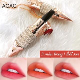 Son môi 3 màu AGAG son lì có dưỡng mịn môi son 3 màu son thỏi bền màu son nội địa Trung son môi đẹp thumbnail