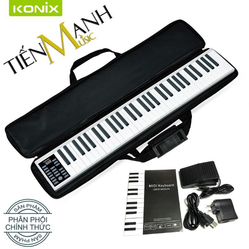 Đàn Piano Điện Konix 61 phím cảm ứng lực Flexible PZ61 - Midi Keyboard  Controllers - Hãng phân phối chính thức (Bàn Phím Bảng