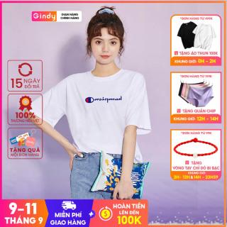 Áo thun phông nữ GINDY in chữ cổ tròn dáng suông tay lỡ phong cách năng động A20032 thumbnail