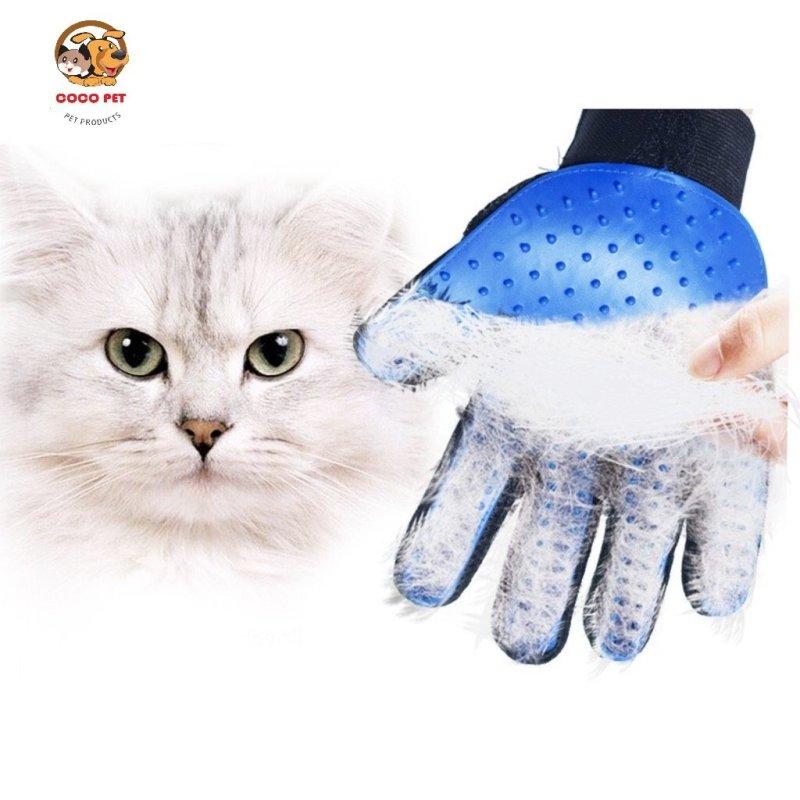 Găng tay chải lông lấy lông rụng cho chó mèo