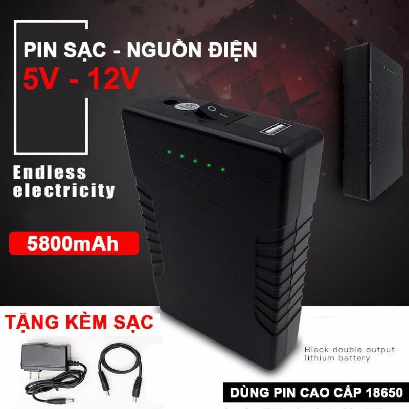 Bảng giá Nguồn pin sạc dự phòng 5V 12V 5800mAh On Off led đèn báo pin Phong Vũ