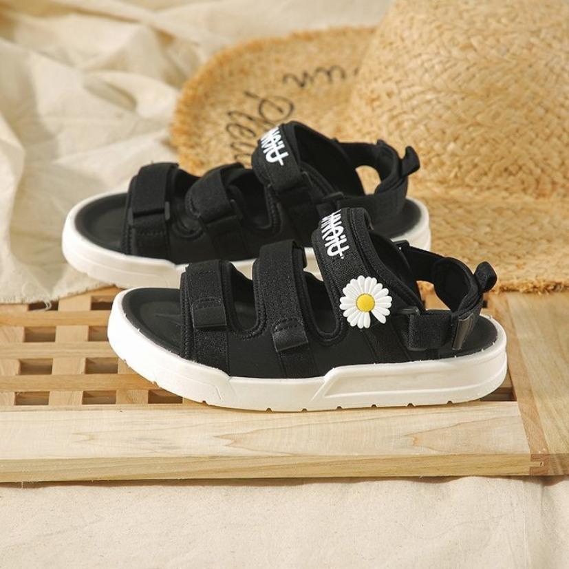 (2 MÀU) Sandal nữ thời trang Ulzzang quai vải chữ ký hoa cúc 2 màu Đen Kem trẻ trung giá rẻ