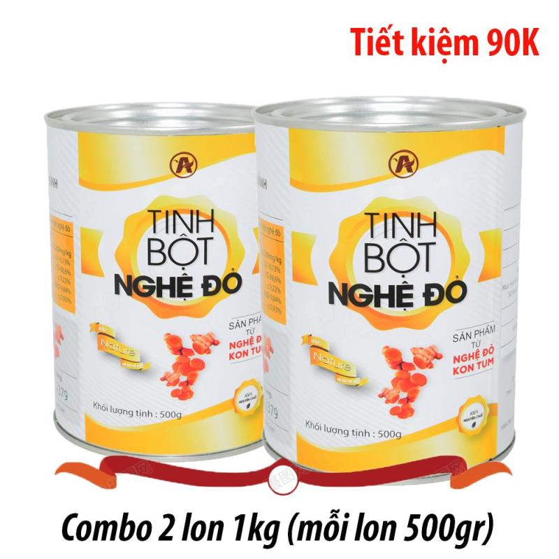 Combo 1kg tinh bột nghệ Đỏ An Bình (mỗi lon 500gr)