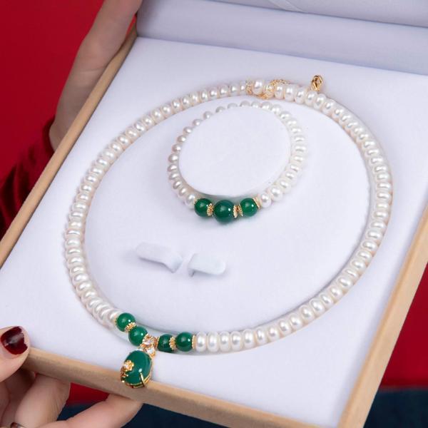 Bộ Chuỗi Ngọc Trai Làm Quà Tặng Đá Mã Não Xanh BNJ-1308 Bảo Ngọc Jewelry