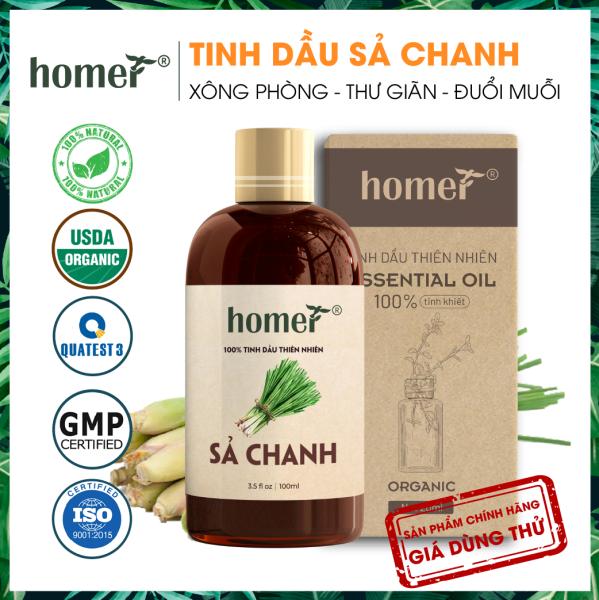 Tinh dầu thiên nhiên Sả Chanh Homer - Dung tích 20ml / 100ml - Đạt chuẩn kiểm định cao cấp - An toàn cho sức khỏe - Đa công dụng