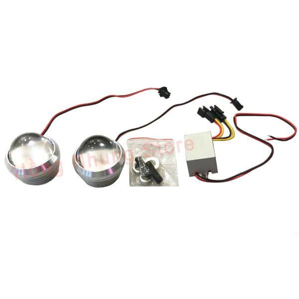 Bộ 2 đèn chớp trâu 4cm (xanh lá - đỏ) 12V-24V, chất liệu nhôm + thấu kính, dễ dàng lắp đặt và sử dụng