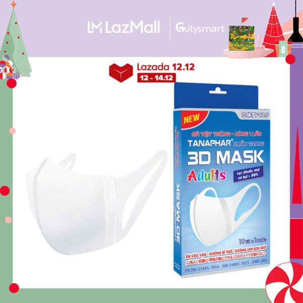 Khẩu trang y tế 3D mask Tanaphar người lớn - Hộp 10 chiếc - đã tiệt trùng với thiết kế 3D cấu trúc đa lớp ngăn khói bụi, ngăn vi khuẩn virus, thiết kế ôm khít khuôn mặt bảo vệ sức khỏe cho gia đình - GutySmart