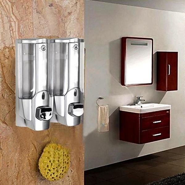 Hộp đựng nước rửa tay, sữa tắm đa năng gắn tường loại bình đôi (Trắng)