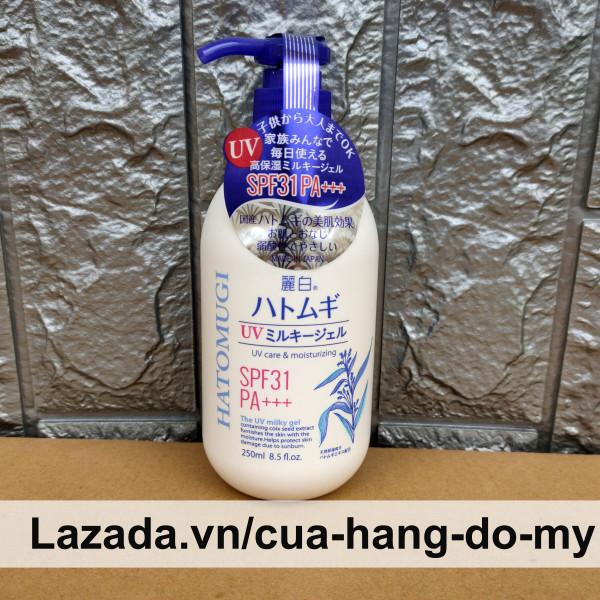 Sữa Dưỡng Thể Chống Nắng Ý Dĩ Hatomugi The UV Milky Gel 250ml SPF31 PA+++ Nhật Bản cao cấp