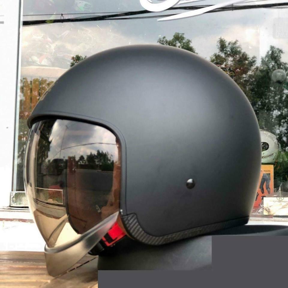 Nón bảo hiểm 3/4 kính âm Ro yal M139 tem nhám (kính khói)