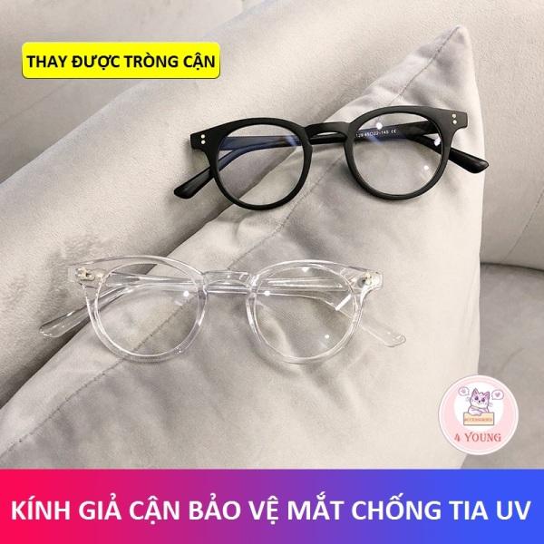 Giá bán Kính cận thời trang nam nữ chữ V bảo vệ mắt chống tia UV và khói bụi, kính giả cận mắt kính không độ có thể thay được tròng cận cực đẹp hottrend 2021 4 YOUNG STORE 027