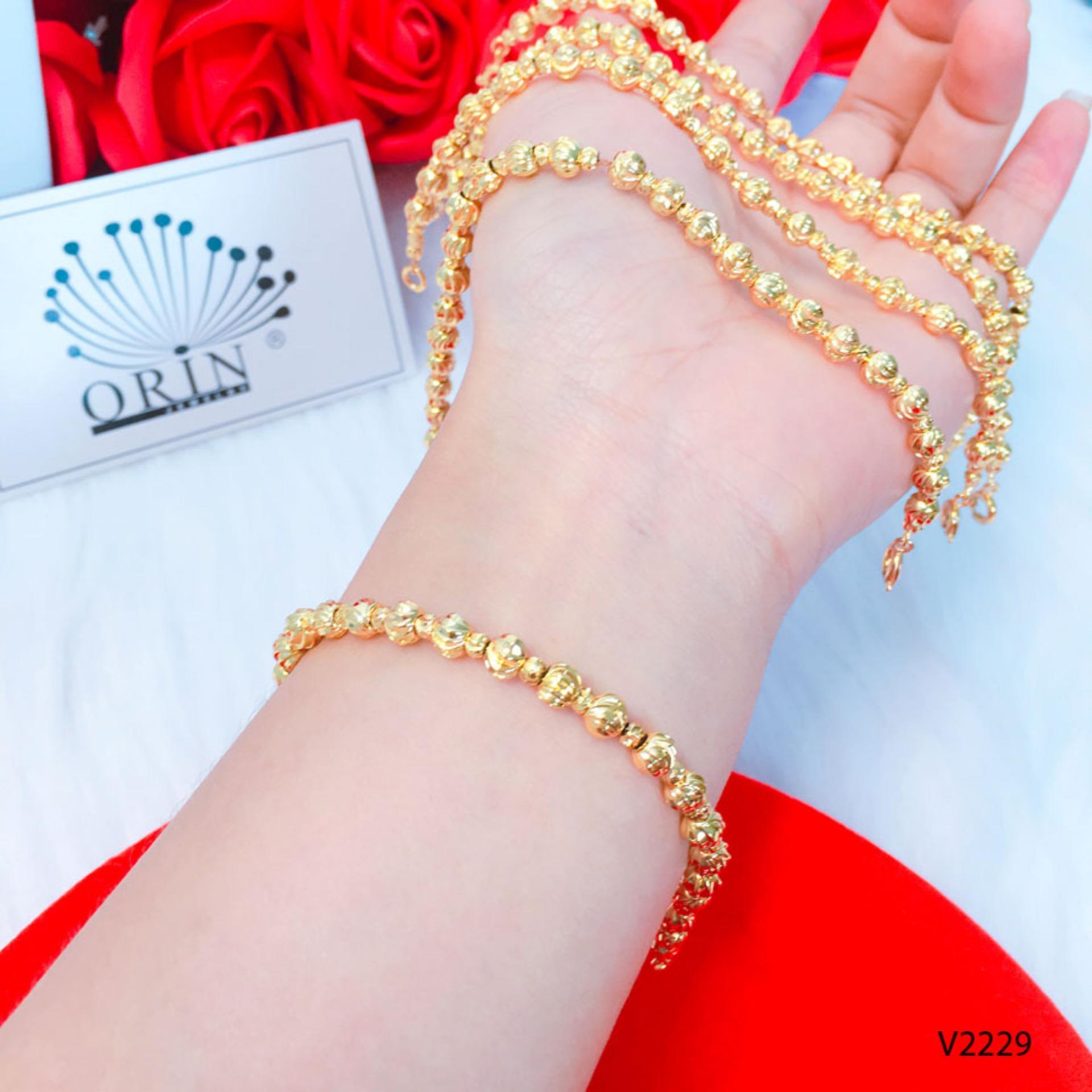 Vòng tay lắc tay bi màu vàng hột to nhỏ bền màu thiết kế cao cấp Orin V2229 Chất liệu Hợp kim mạ cao cấp
