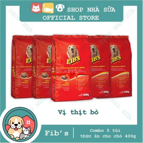 [COMBO 5 GÓI] Thức ăn hạt cho chó Fibs 400g Vị Bò Nướng