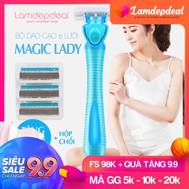 [FS 98K + QUÀ TẶNG 9.9] Bộ dao cạo lông MAGIC LADY chuyên dụng cho phái nữ - Cạo sạch lông nách tay chân an toàn - Tặng 3 lưỡi dao hộp chổi - Lamdepdeal nhập khẩu