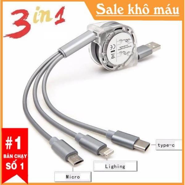 [HCM]CÁP SẠC 3 ĐẦU ĐA NĂNG  (LIGHTNING) CHO IPHONE IPAD----MICRO USB CHO SAMSUNG ANDROID --- TYPE C OPPO