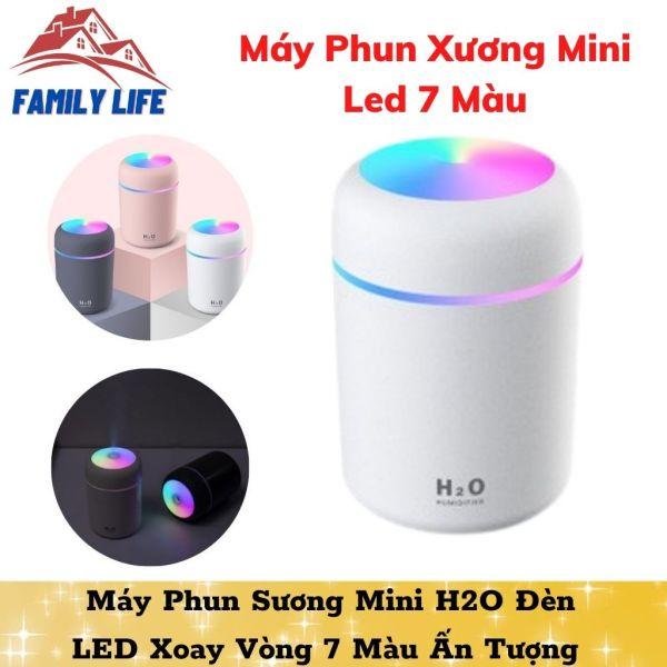 Máy Phun Sương Mini H2O Đèn LED Xoay Vòng 7 Màu Ấn Tượng Tạo Độ Ẩm Khuếch Tán Tinh Dầu 320ml
