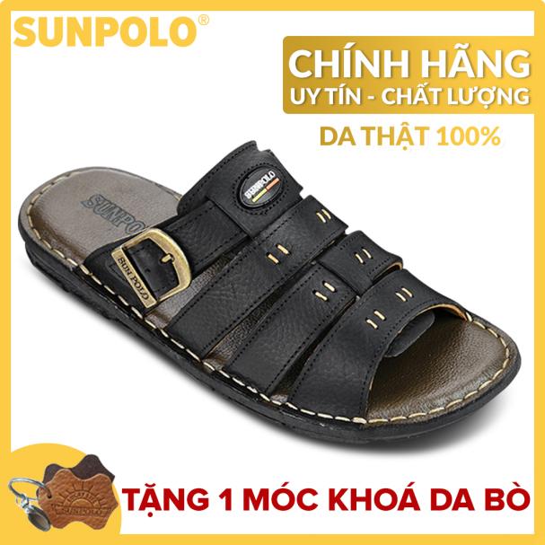 Dép Quai Ngang Nam Da Bò SUNPOLO A6D-Đen giá rẻ