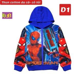 Áo khoác bé trai hình siêu nhân nhện từ 11-43kg - Áo ấm bé trai, Áo lạnh thun da cá thấm hút mồ hôi - Hương Nhiên thumbnail