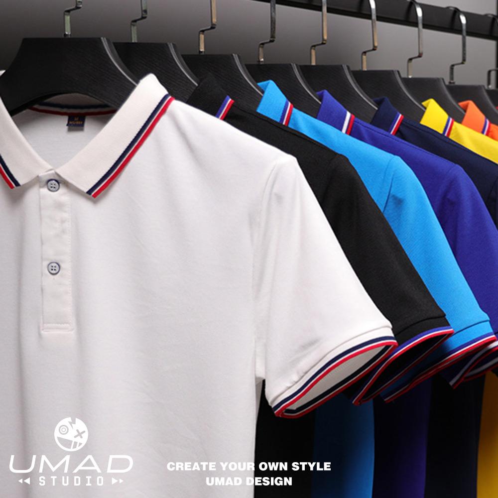 Áo thun Polo nam UMAD Basic trơn v.1 trắng đen cổ bẻ vải cá sấu CVC form trẻ trung cao cấp có Big Size