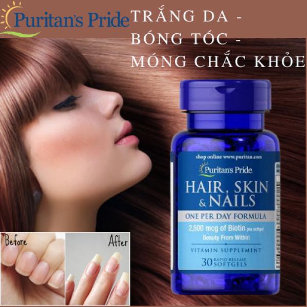 Loại bỏ dầu thừa trên da mặt, giảm mụn trứng cá, đẩy mụn ẩn, giúp mọc tóc nhanh bóng và mượt Puritans Pride Hair, Skin & Nails 30 viên (HSD: 06/21)