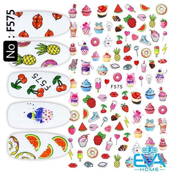 Miếng Dán Móng Tay 3d Nail Sticker Tráng Trí Hình Trái Cây Và Bánh Kem F575 giá rẻ